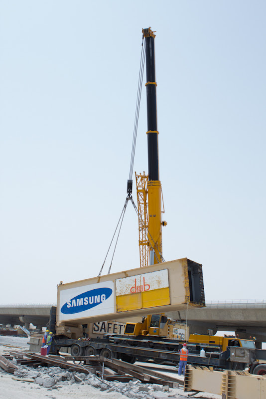 heavy transport of two gantry cranes