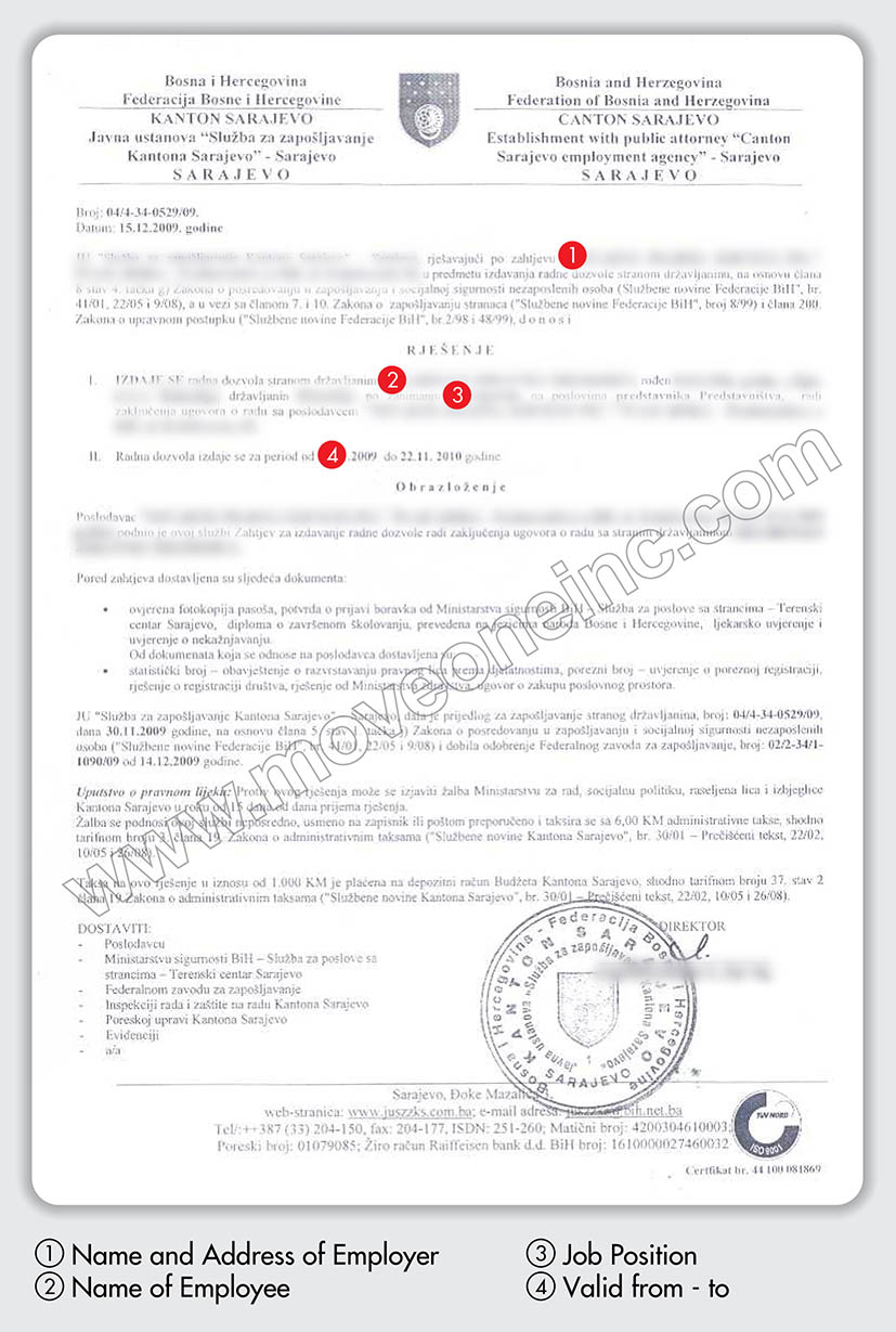 bosnia work permit